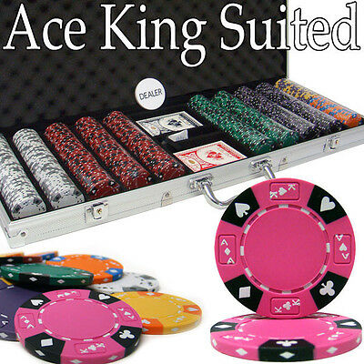 NEW 500 Pc Ace King 14 Gram Clay Suited Poker Chips Set Aluminum Case Pick Chips