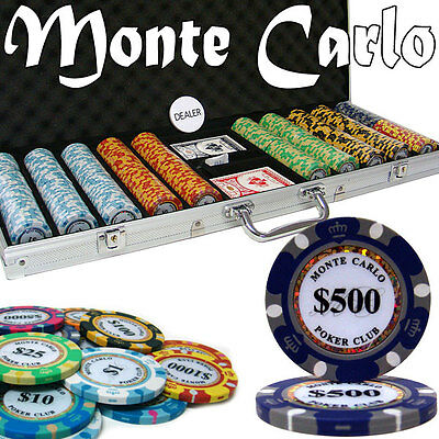 NEW 500 Pc Monte Carlo 14 Gram Clay Poker Chips Set With Aluminum Case Custom