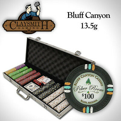 NEW 500 PC Bluff Canyon 13.5 Gram Clay Poker Chips Set Aluminum Case Pick Chips