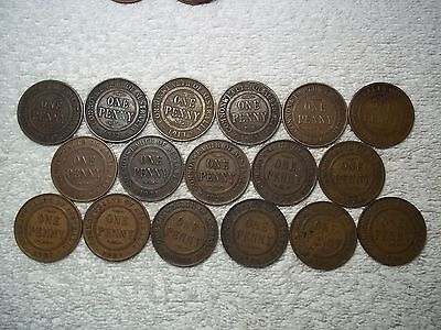 1911 - 1936 Australia Penny Old World bronze collectible coins(lot of 17)shown#C