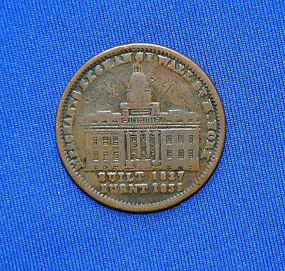 1835 Hard Times Token - Merchants Exchange Millions For Defence, Not One Cent