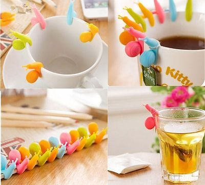 10pcs Cute Snail Shape Silicone Tea Bag Holder Cup Mug Candy Colors Gift Set New