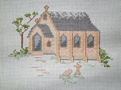 Church Completed Cross Stitch Picture Church Stitched with DMC threads on Aida 1