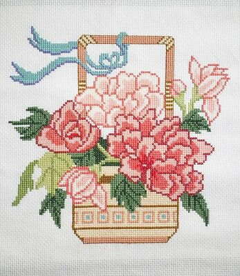 Completed Cross Stitch Picture Peony Flower Basket