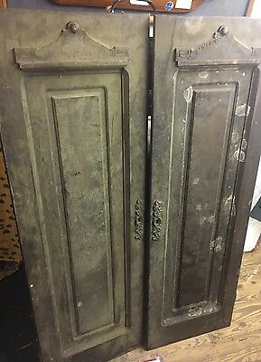 Pair WALNUT Victorian ARMOIRE Wardrobe Doors Wood ARCHITECTURAL SALVAGE Pediment