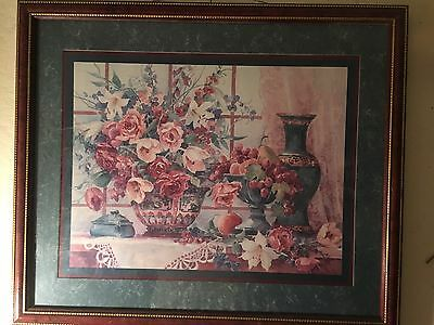 """Vintage Home Interiors Barbara Mock Picture Floral Pink Roses  22""""X26"""""""