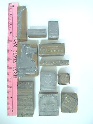 Lot of 11 Vintage Wood/Metal Letterpress Print Blocks - Advertising