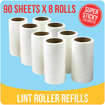 Lint Roller Refills H10cm 90 SHEETS X 8 ROLLS removes Lint, Dust, Fluff & Hair
