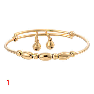 Stunning  Baby Girls 18K Gold  Oval Round Shape Balls & 2 X Bells Bangle