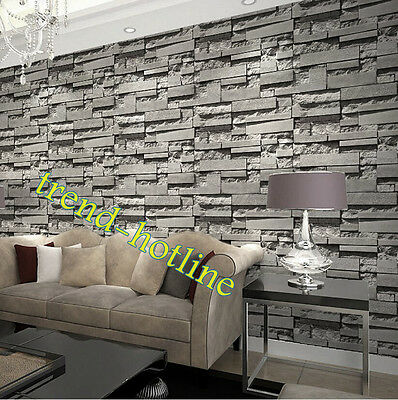 33ft Neutral Retro 3D Vision Slate Bricks Vinyl Wallpapers Roll Realistic Stones