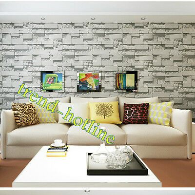 10M 3D Light Grey Slate Effect Brick Textured Wallpaper Hotel Cafe Wall Decor AU