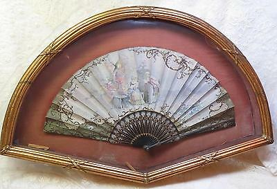 Antique 19th C FRENCH Hand Painted Fan in Antique Gilt Gold Frame w PRAG Label