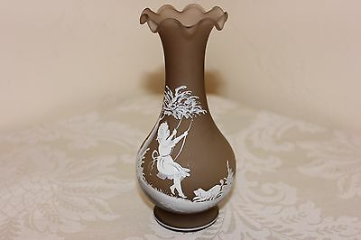 """Beautiful Frosted Glass Vase, Mary Gregory Style, Girl on Swing, Signed, 6-1/4"""""""