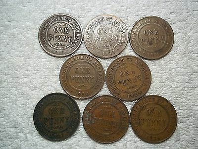 1911 - 1936 Australia Penny Old World bronze collectible coins(lot of 8)shown #F