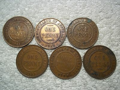 1911 - 1936 Australia Penny Old World bronze collectible coins(lot of 6)shown #G