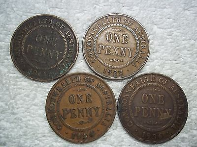 1911 - 1936 Australia Penny Old World bronze collectible coins(lot of 4)shown #H