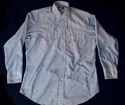 VTG 80s LEVI'S ORANGE TAB BULL EMBROIDERED CHAMBRAY SNAP BUTTON WESTERN SHIRT XL