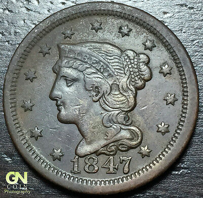 1847 Braided Hair Large Cent --  MAKE US AN OFFER! #Y6728