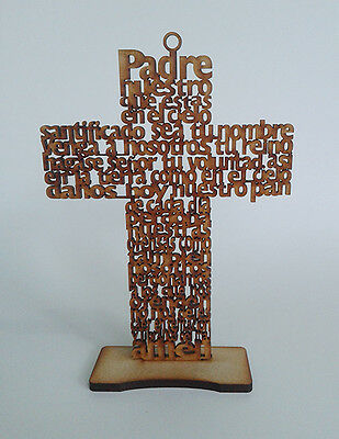 50 Cross Our Father prayer laser cut spanish 7.8 inches baptism Padre Nuestro
