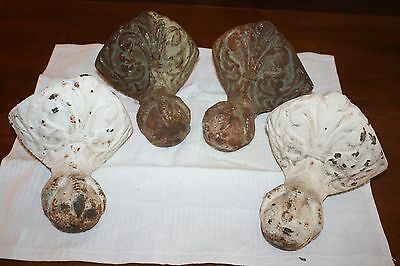 Antique Cast Iron Eagle Claw And Ball Claw Foot Tub Feet With Beautiful Fleur De