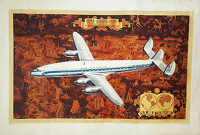 ORIGINAL Vintage Airline Travel Poster AIR FRANCE Constellation Connie WORLD MAP