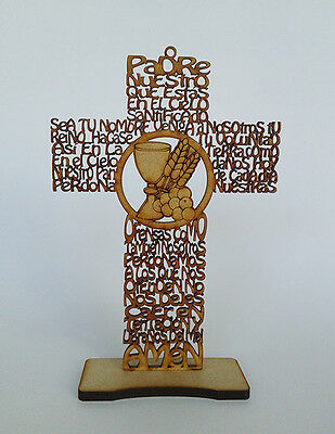 50 Cross Our Father prayer lasercut spanish 7.8 in holy communion Padre Nuestro