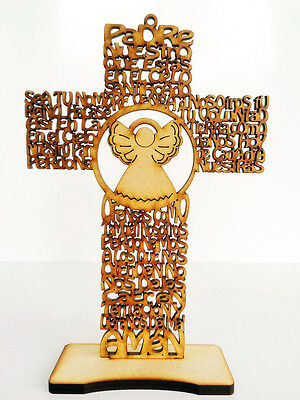 50 x Cross Our Father prayer laser cut spanish 7.8in baptism angel Padre Nuestro
