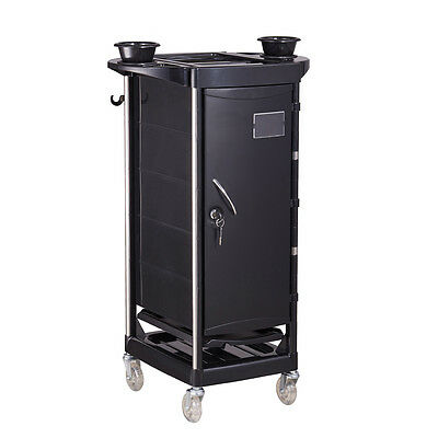 Salon Trolley Cart Color Roller Cart With Locking Door & Folding Trays