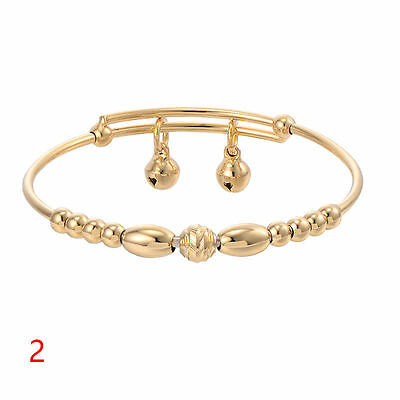 Cute Baby Girls Gold Oval Round Shape Balls,2 X Bells Bangle Fit 12 Mths--8 Yrs