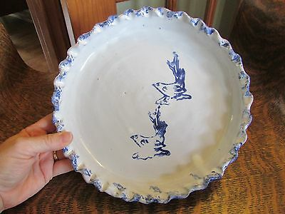 Bybee Pottery Blue And White Sponge Rim Pie Plate With Birds (Rare)