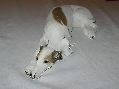 SANDICAST Large Greyhound White & Brindle 1994, #395 Retired, Sandra Brue