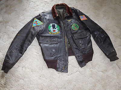 US Navy G-1 Leather Flight jacket, sz. 40, w/patches