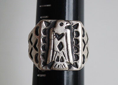 VERY OLD FRED HARVEY THUNDERBIRD RING INGOT SILVER NAVAJO INDIAN RING 1920's
