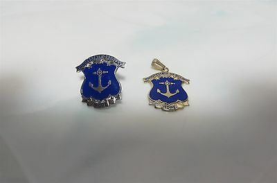 State Of Rhode Island Lot 1 Gold Plated Pendant & 1 Silver Plated Pin -Blue Logo