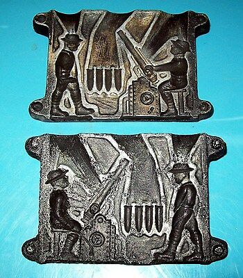 World War 1 - Vintage Lead Mold - With 2 Soldiers - Motar Cannon & Shells