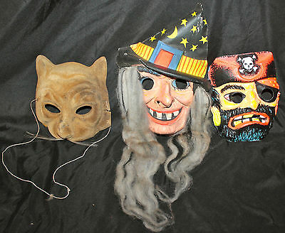 Vintage Lot 3 Vacuform Plastic Halloween Costume Masks Cat Face, Pirate, & Witch