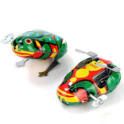Jumping Frog Retro Clockwork Wind Up Tin Toy W/Box
