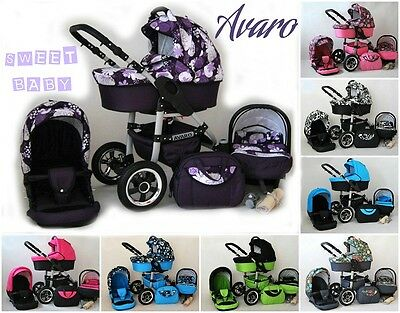 Baby pram 3in1 AVARO pushchair carry cot car seat different colors 2017
