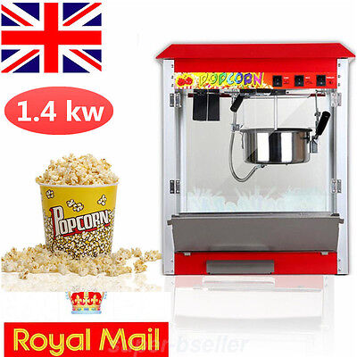Electric Popcorn Maker Tabletop Machine Pop Corn Cooker 8Oz Party Red Proof UK