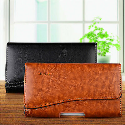 Horizontal Leather Phone Pouch Cover Belt Clip Holster Case Wallet Card Holder