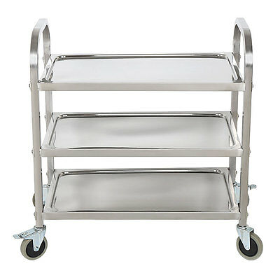 Rolling Stainless Steel 3 Tier Catering Serving Trolley Storage Kitchen Cart