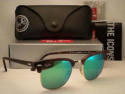 Ray Ban RB3016 1145/19 Original Clubmaster Tortoise/Green Flash Sunglasses 51mm