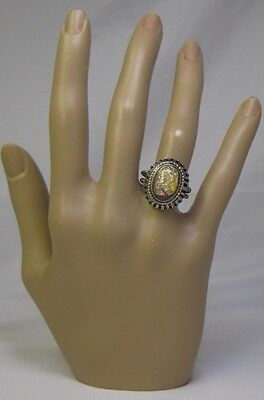 Vintage Simulated Opal Adjustable Size Ring - Silver Rope Setting - Japan