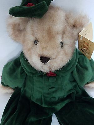 "Bearington Collection Sidney Bear Green Velvet New With Tags 17"" Tall"