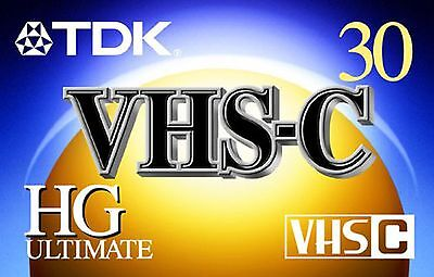 TDK TC30EHG VHS-C 30 Minute Video Tape New Free Shipping