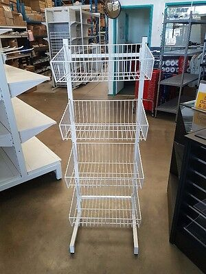 Wire Four Tier Basket Stand For Shop Retail Brand New White Shop Fittings