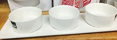 Dip Bowls With Tray White  Set 3 Bowls  (S & P)
