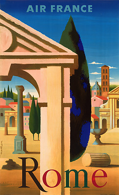 ORIGINAL Vintage Airlines Travel Poster AIR FRANCE Rome ITALY Ancient CLASSIC