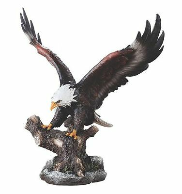 """Napco 18087 Bald Eagle on Branch with Wings Spread Wide Figure, 9"""""""