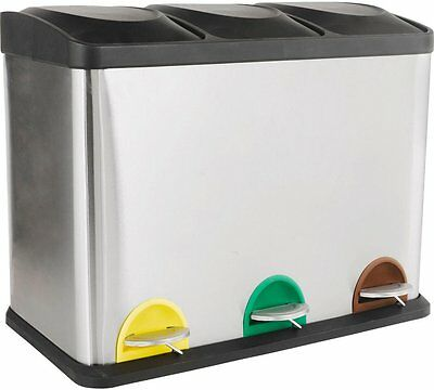 HOME 45 Litre Recycling Pedal Bin with 3 Compartments Make Recycling Easy Hassle